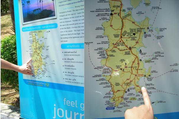 左:已經從Kamala騎到南端。右:將騎往普吉市區